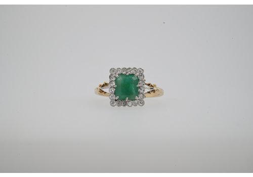 Occasion geel goud ring briljant/ smaragd