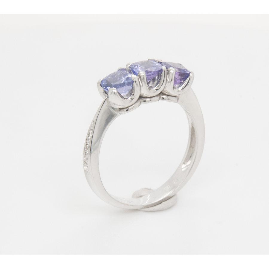 Nieuw  18 karaat wit goud ring Tanzaniet/ briljant   4.5 gram