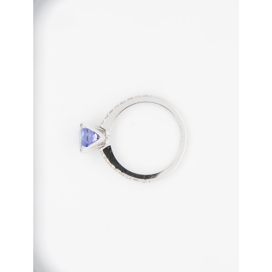 Nieuw 18 karaat wit goud ring Tanzaniet/ briljant 3.2 gram