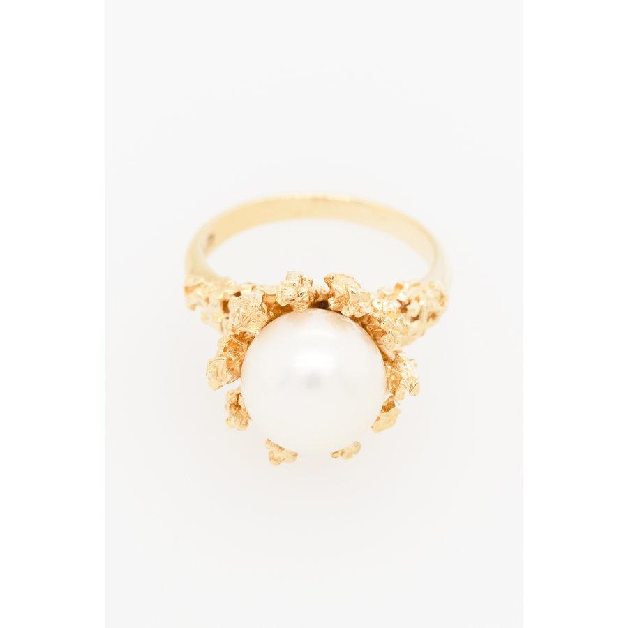 Occasion 14 karaat geel goud ring met parel