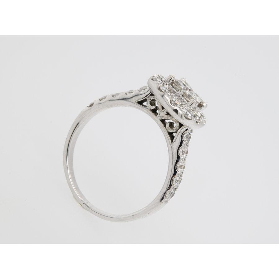 Occasion 14 karaat wit goud ring prinses geslepen dimant 5.4 gram