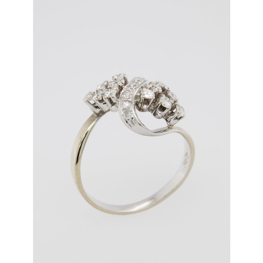 Occasion 14 karaat wit goud ring 12 briljant 3.9 gram