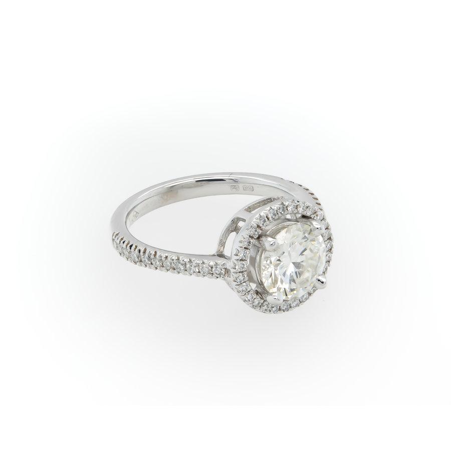 Nieuw 18 karaat wit goud ring briljant 4.1 gram