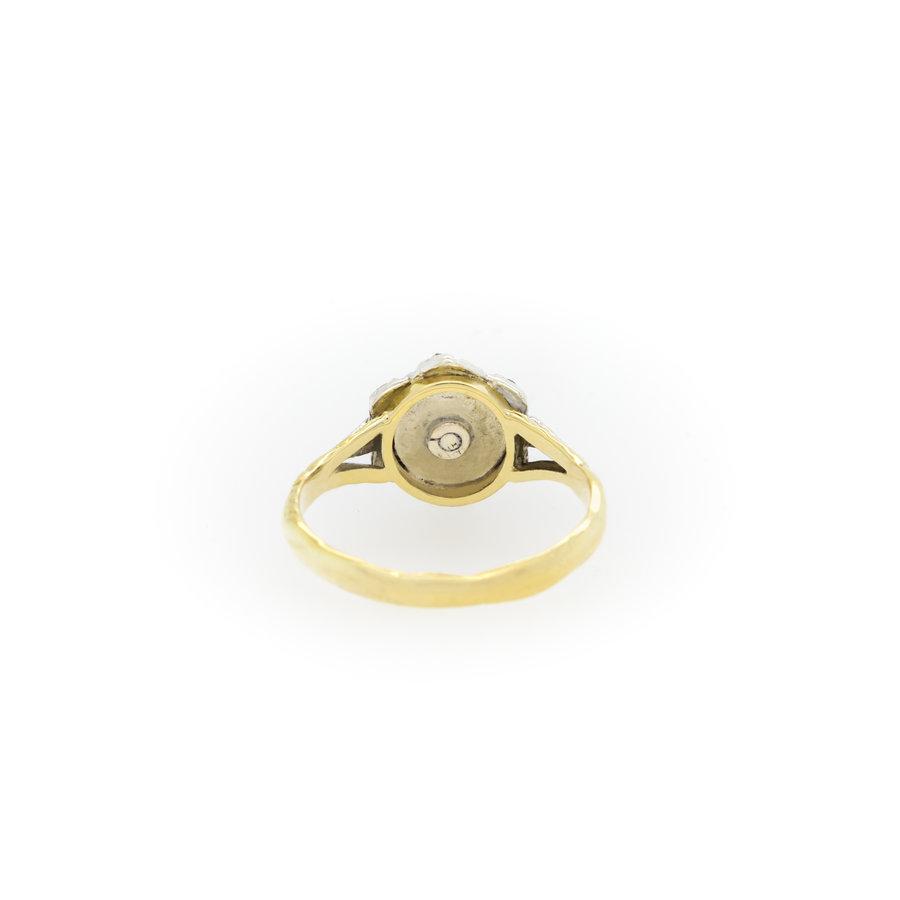 Occasion 14 karaat goud/zilver ring Roos diament 2.9 gr