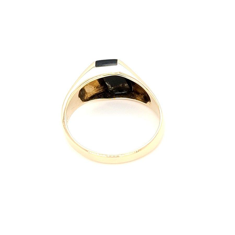 Occasion 14 karaat geel goud ring onyx 3.8 gram