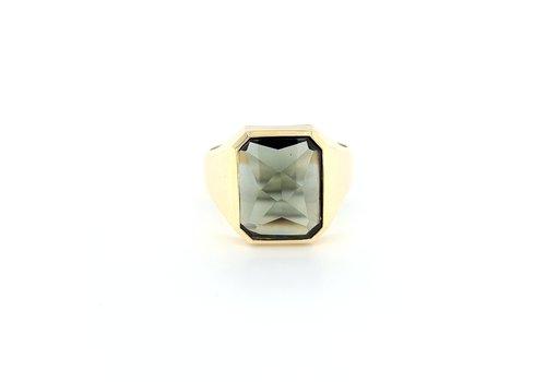 Occasion 14 geel goud heren ring Toermalijn 4.8 gram