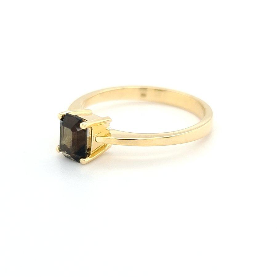 Occasion 18 karaat geel goud ring Toermalijn  4.5 gram