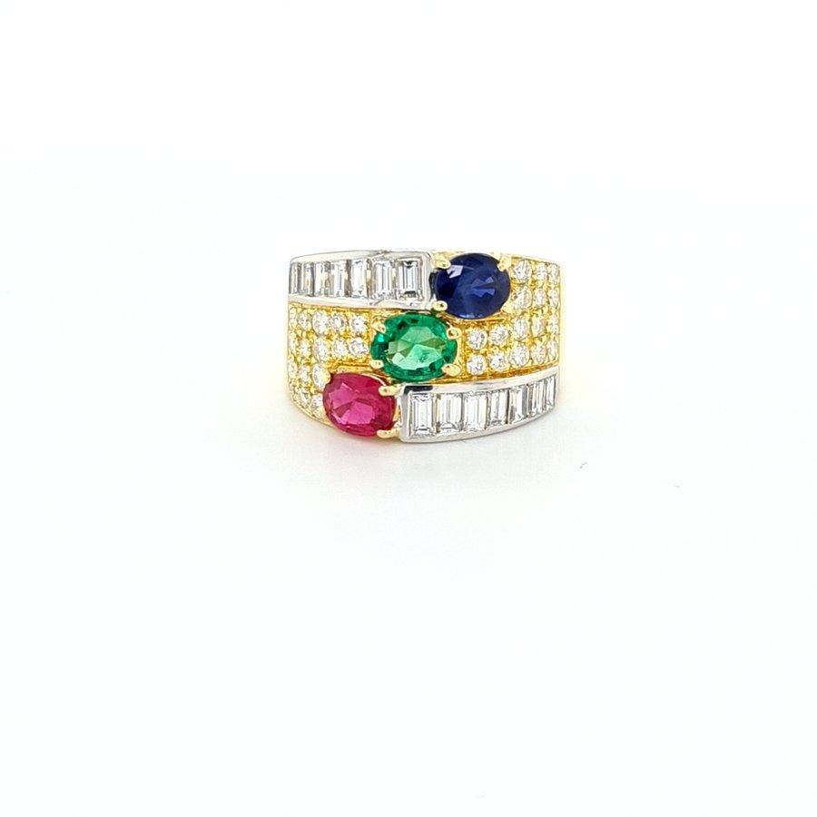 Occasion 18 karaat geel goud ring brilj/sma/rob/saff 9 gram