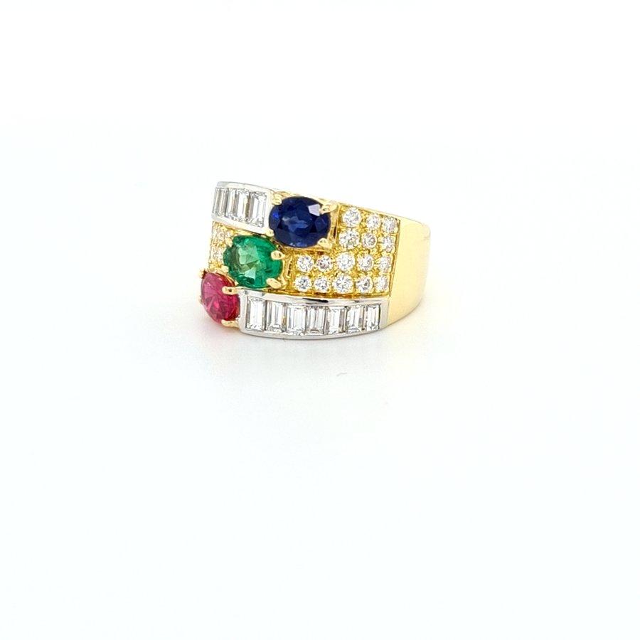Occasion 18 karaat geel goud ring brilj/smarob/saff 9 gram