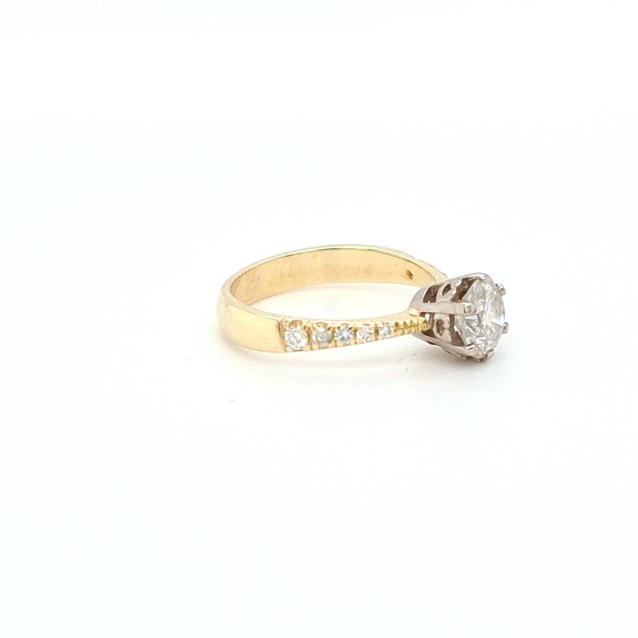 Occasion  geel gouden ring met briljanten