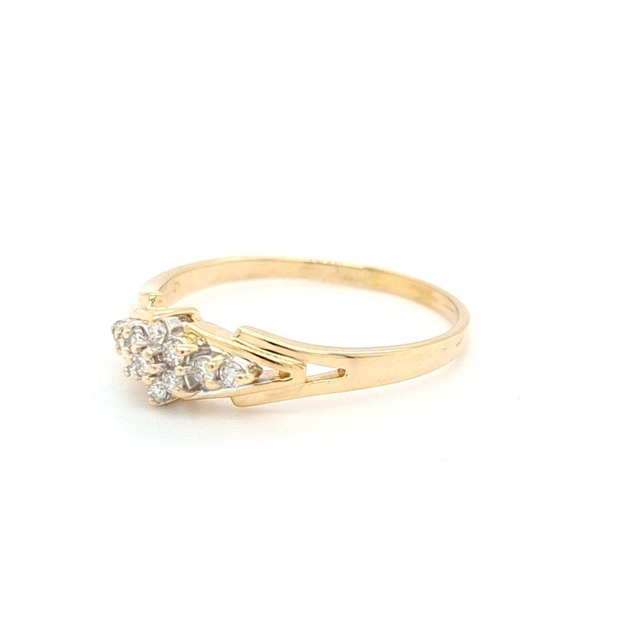 Occasion 14 karaat geel gouden ring met briljant 3.9 gram