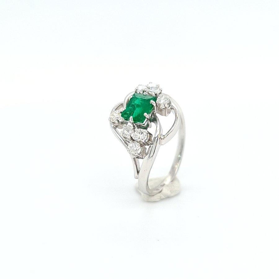 Occasion 14 karaat gouden ring met  Smaragd