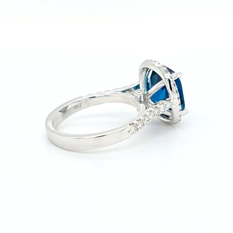 Nieuw 18 karaat wit gouden ring briljant/ topaas 6 gram