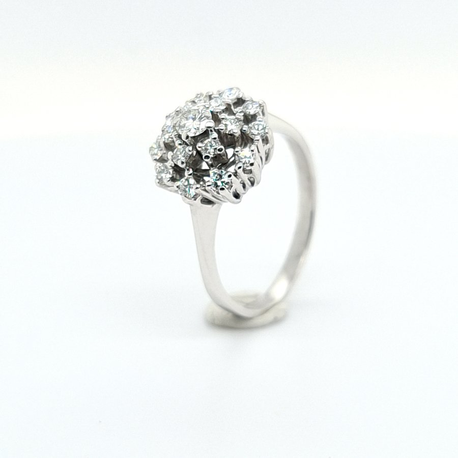 Occasion 14 karaat wit gouden ring briljant 3.9 gram