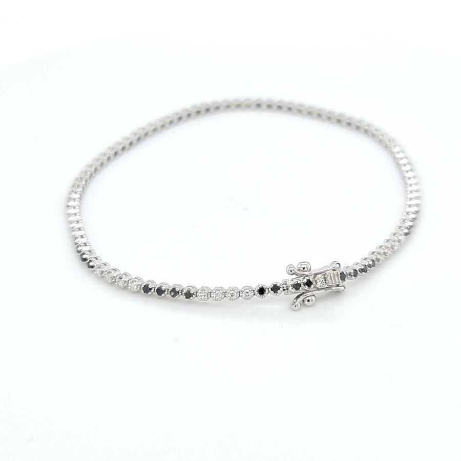 18 karaat wit gouden armband zwarte/wit  briljant  4.8 gram
