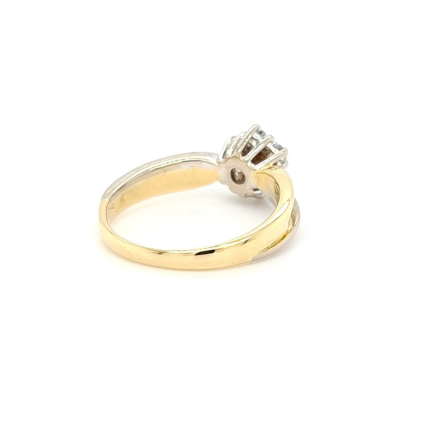 Occasion 18 karaat geel gouden ring met 5 briljanten