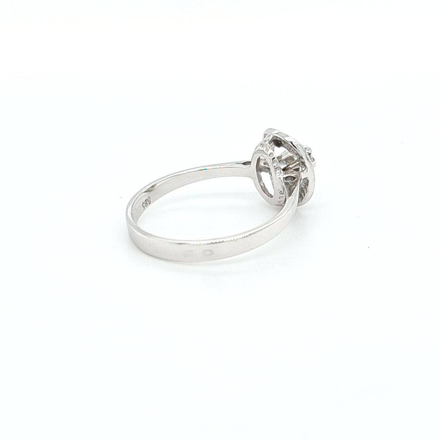 Occasion 14 karaat wit goud ring 0.03 krt briljant 2.3 gram