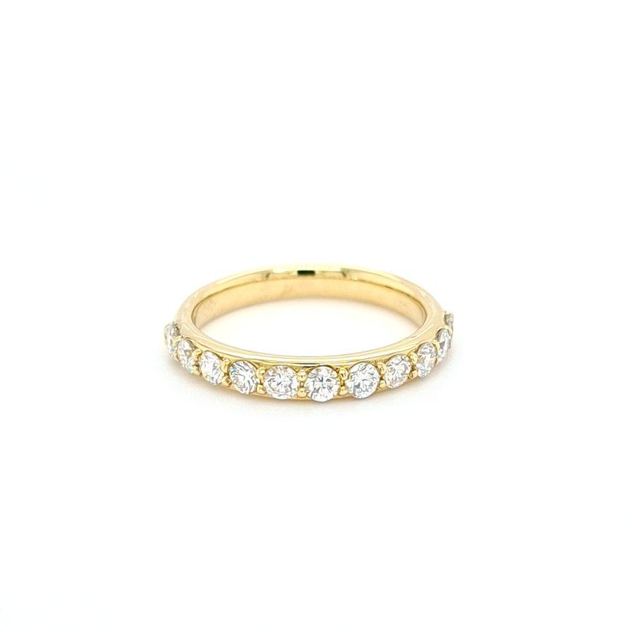 Occasion 14 karaat geel gouden ring 0.14 krt briljanten 5.7 gram