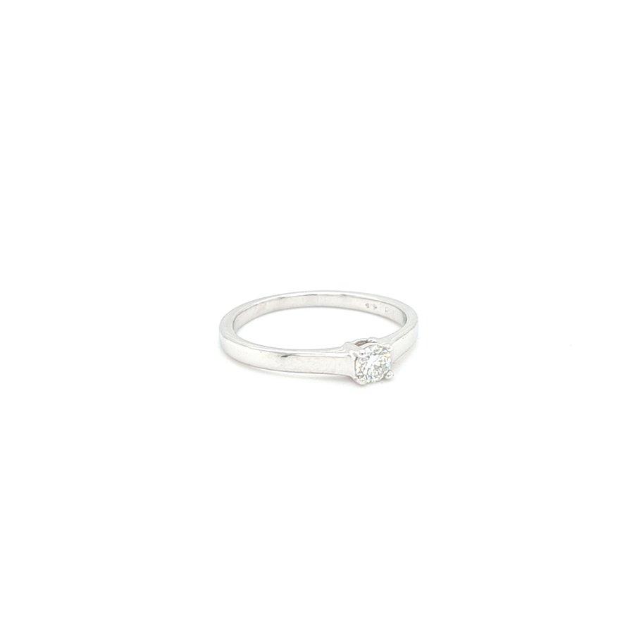 Occasion 14 karaat wit gouden ring 0.15 briljanten 1.7 gram