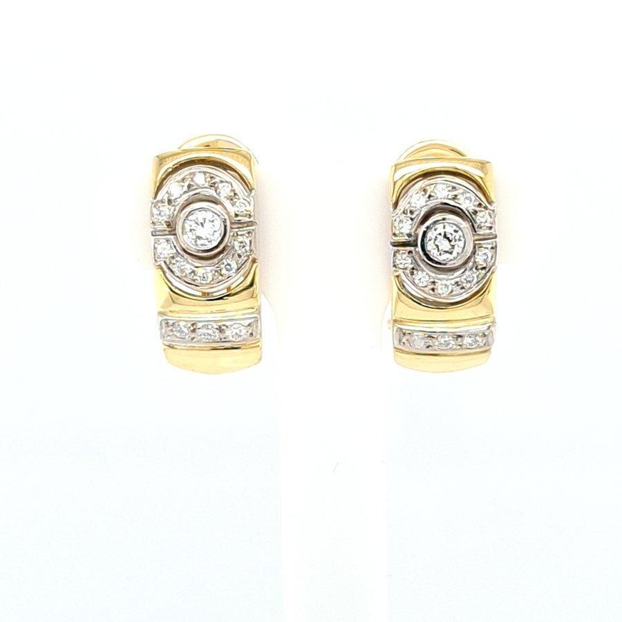 Occasion 14 karaat geel goud oorbellen 0.30 krt brilj 7.24 gram