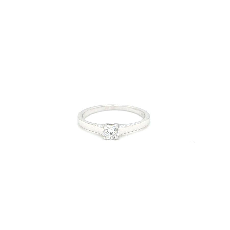 Occasion 14 karaat wit goud solitair ring briljant 1.7 gram