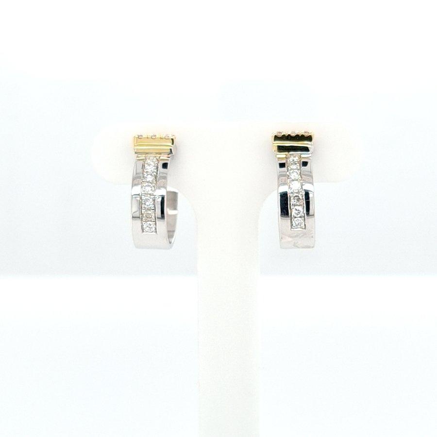 Occasion 14 karaat bicolor oorklep 0.16 briljant 3.7 gram