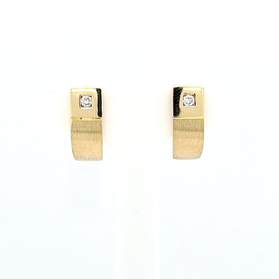 Occasion 14 karaat geel gouden oorknop 0.07 krt briljant 2.9 gam