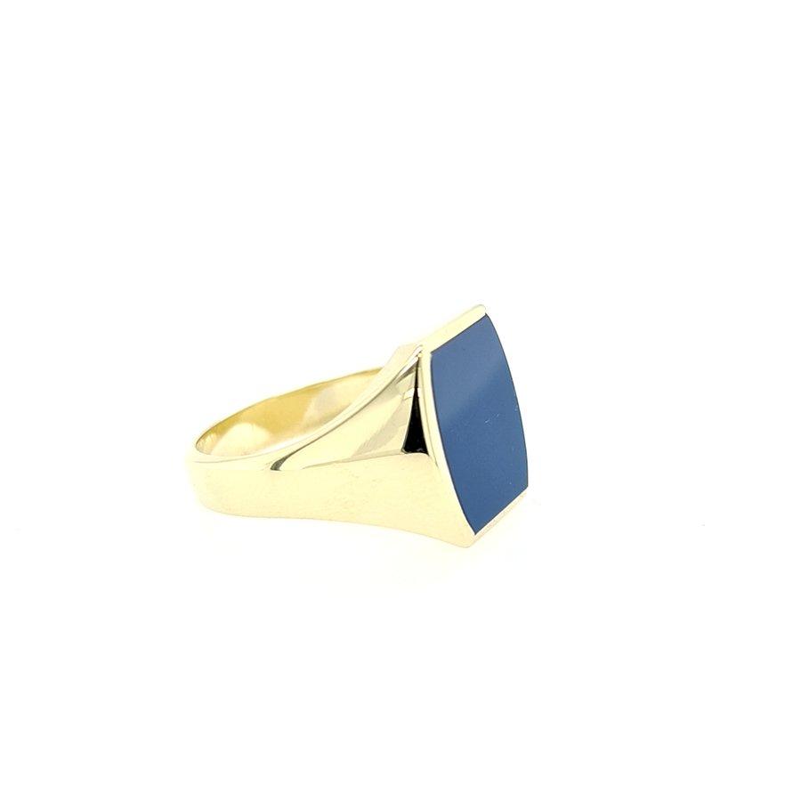 Occasion 14 karaat geel gouden heren ring laagsteen 9.5 gram