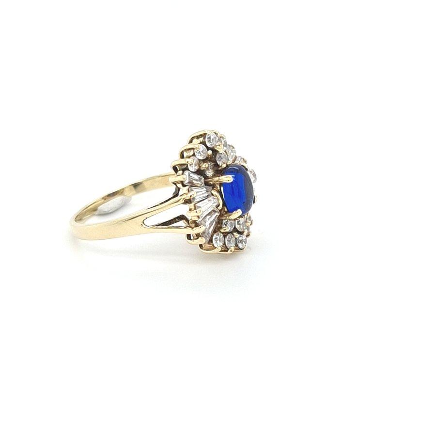 Occasion 14 karaat geel gouden ring sffier/ zirkonia 4 gram
