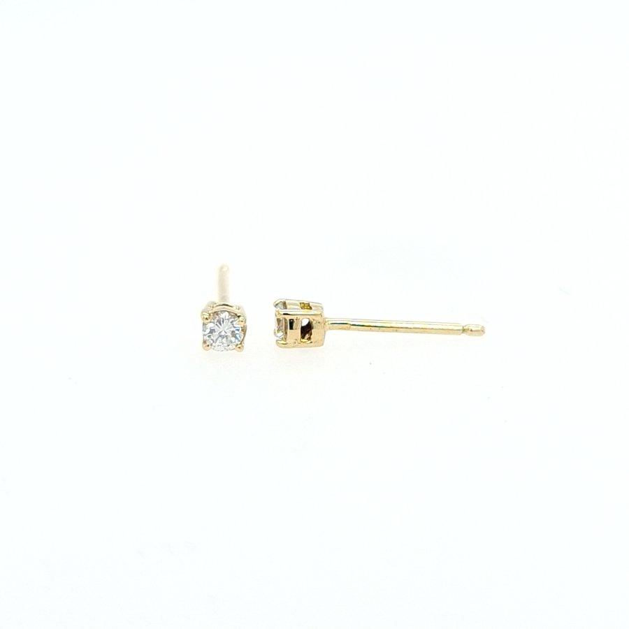 Occasion 18 karaat geel gouden oorknop 0.20 krt briljant  0.82 gram