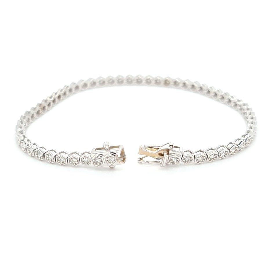 18 karaat wit gouden armband  briljanten 10.2 gram