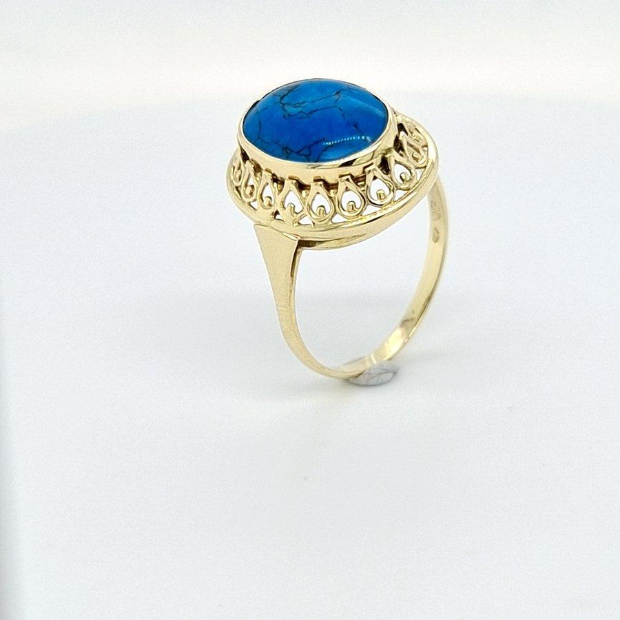 Occasion 14 karaat geel goud ring met Turquise 3.1 gram