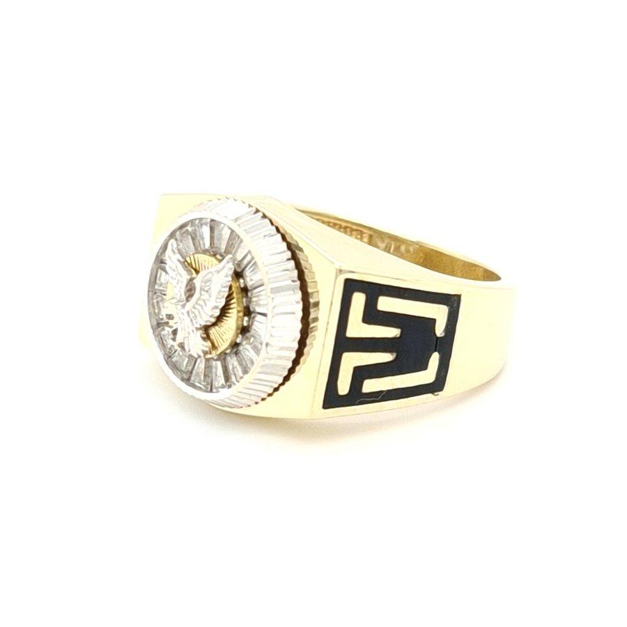 Occaion 14 karaat geel gouden heren ring zirkonia 10 gram