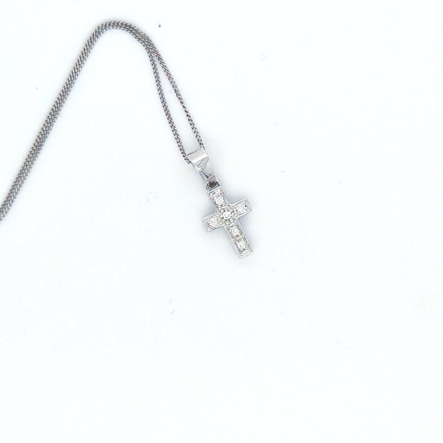 Occasion 18 karaat wit gouden collier/ hanger zirkonia 45cm