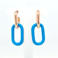 Nieuw zilver rosé goud oorhanger blauw4 kant