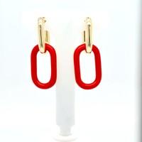 Nieuw zilver verguld oorhanger rood 4 kant