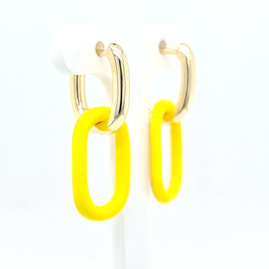 Nieuw zilver verguld oorhanger  geel 4 kant