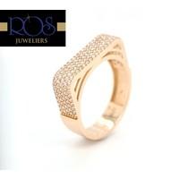 Occasion 14 karaat rosé gouden ring zirkokonia maat 18