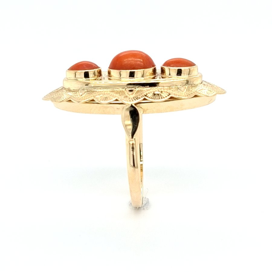 Occasion 14 karaat geel gouden ring bloedkoraal 4 gram maat 18