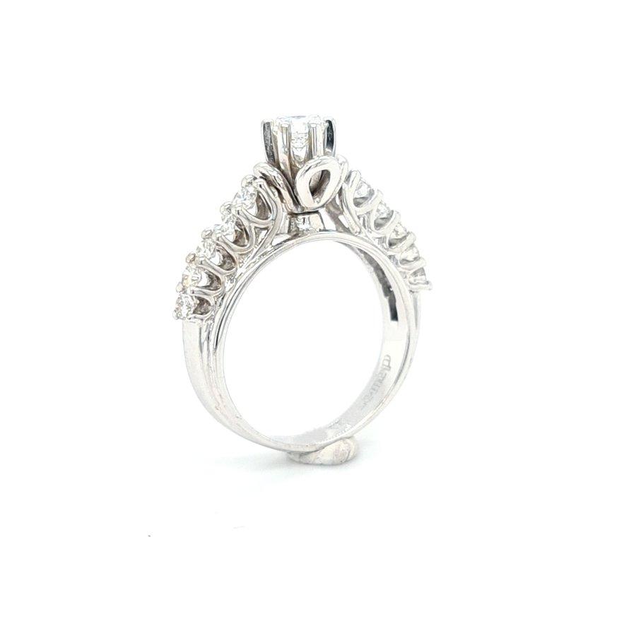 Occasion 14 karaat wit gouden ring ca 0.80 krt briljant 4.1 gram maat 17