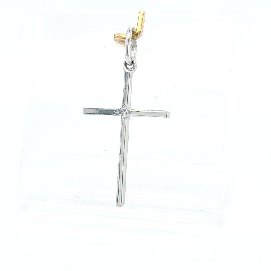Occasion 14 karaat wit gouden hanger (kruis) 0.01 krt briljant 1.07 gram