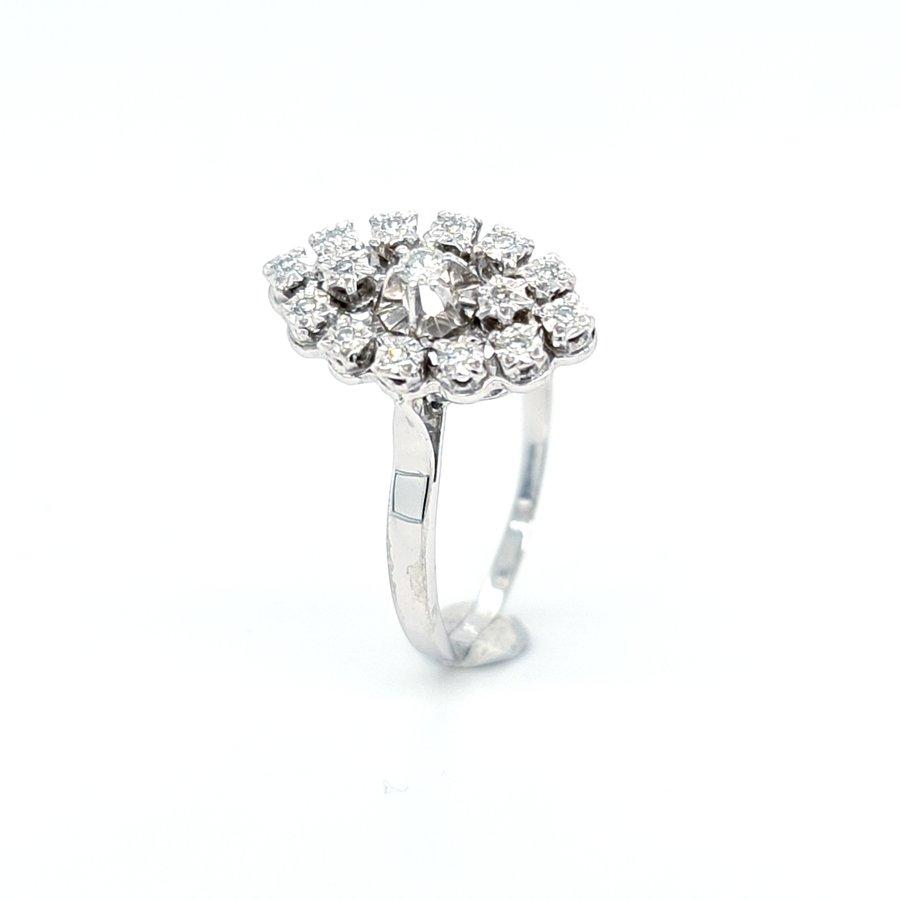 Occasion 14 karaat wit gouden ring 0.20 krt briljanten met 8/8 diam  maat 20.5
