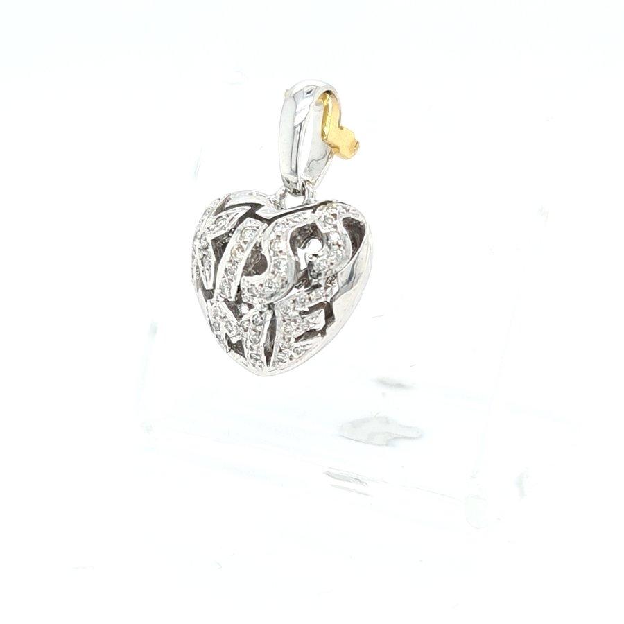 Occasion 18 karaat wit gouden hanger 0.28 krt briljanten 6.3 gram