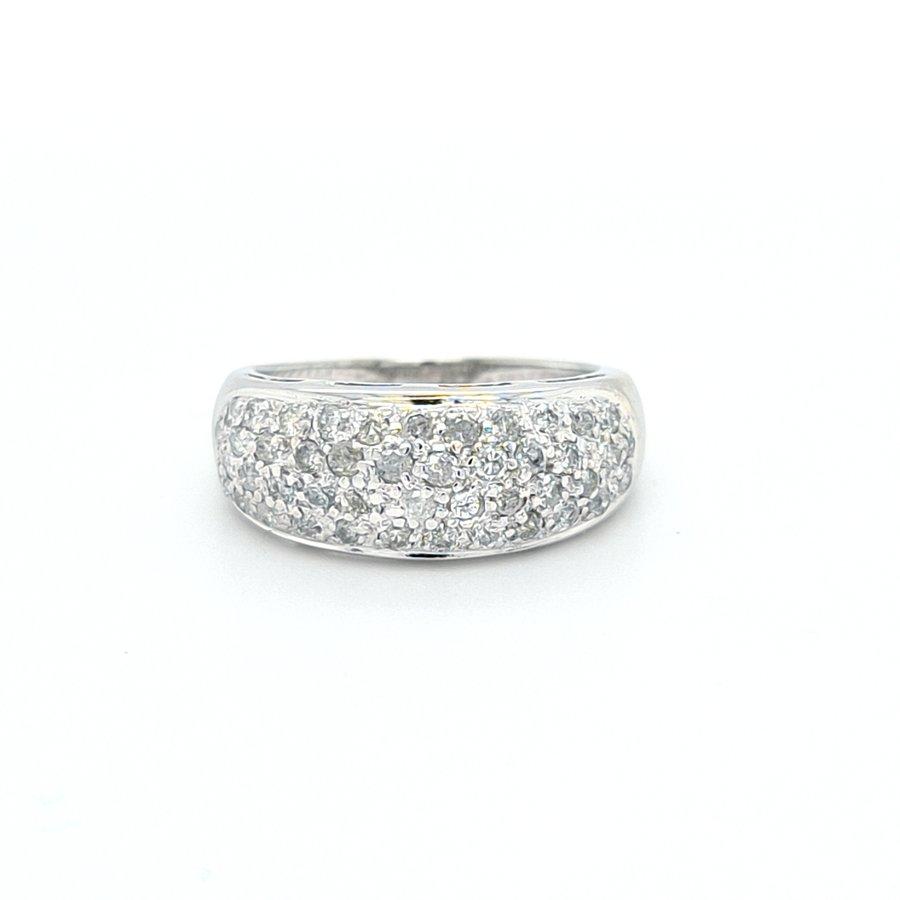 Occasion 18 karaat wit gouden ring 1crt briljant