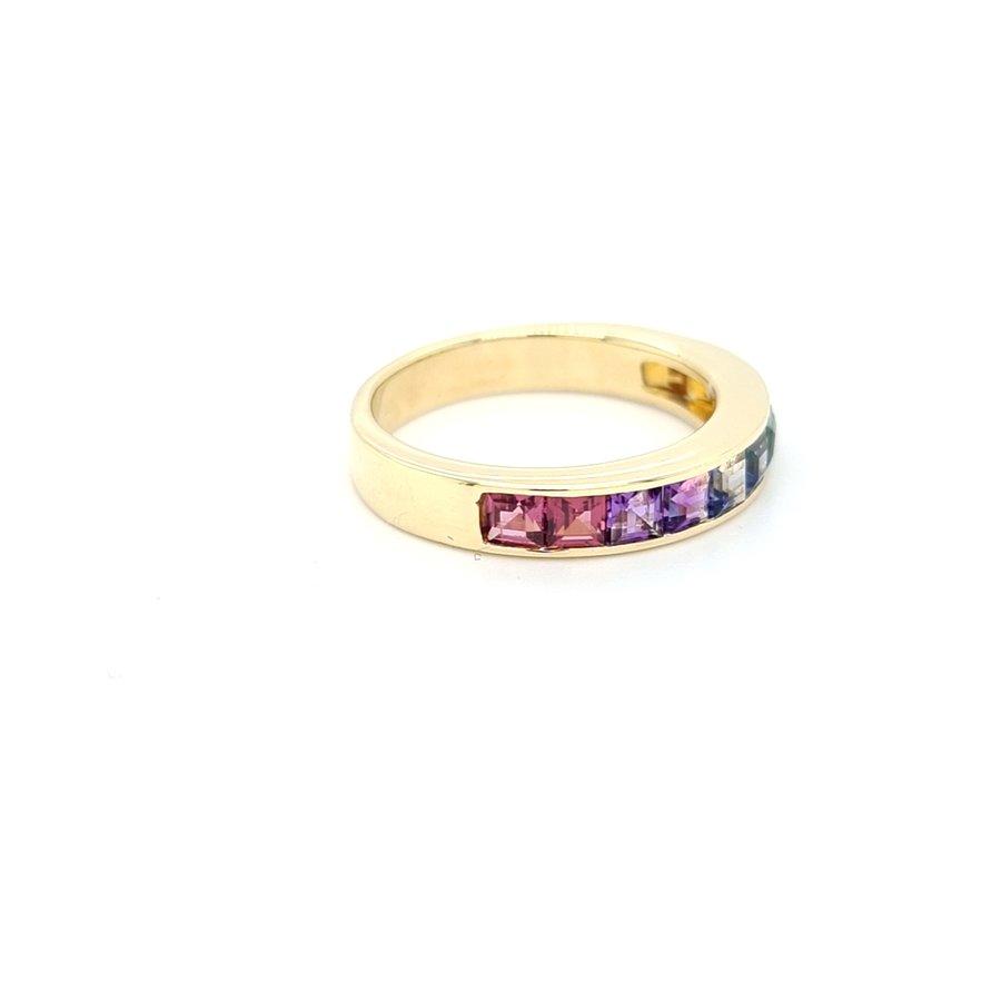 14 karaat geel gouden ring turquoise regenboog 5.gram maat 18.5