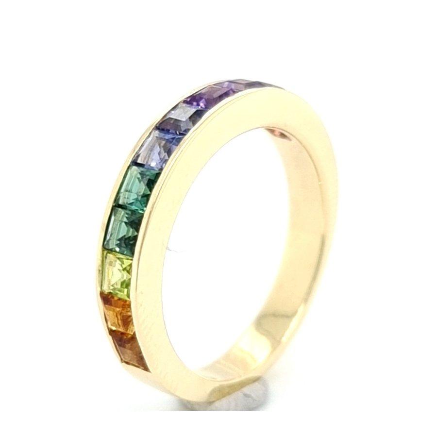 new 14k geelgouden ring turquoise regenboog 5gr NAH