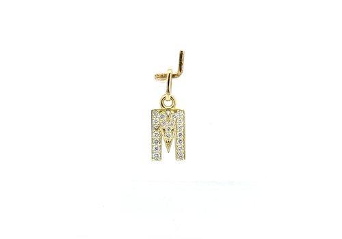 New 14 karaat geel gouden letter hanger met 0.16 krt briljanten 1.3 cm totaal lengte, gewicht  0.77 gram
