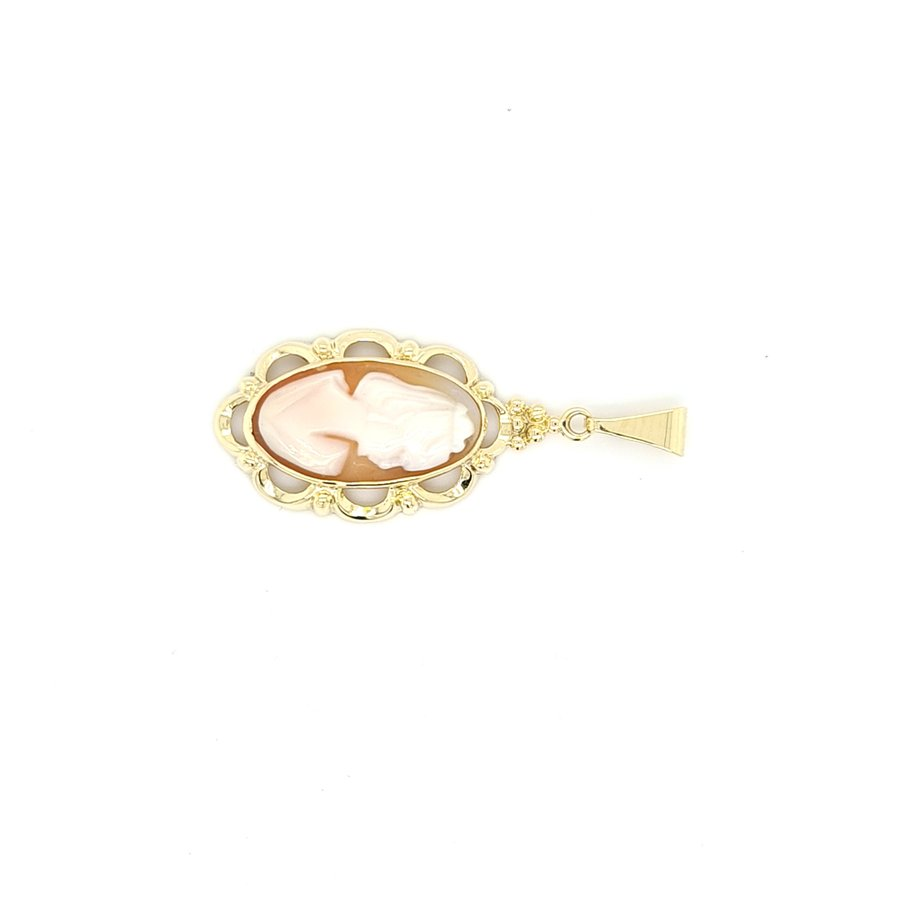 Occasion 14 karaat geel gouden camee hanger 2. gram