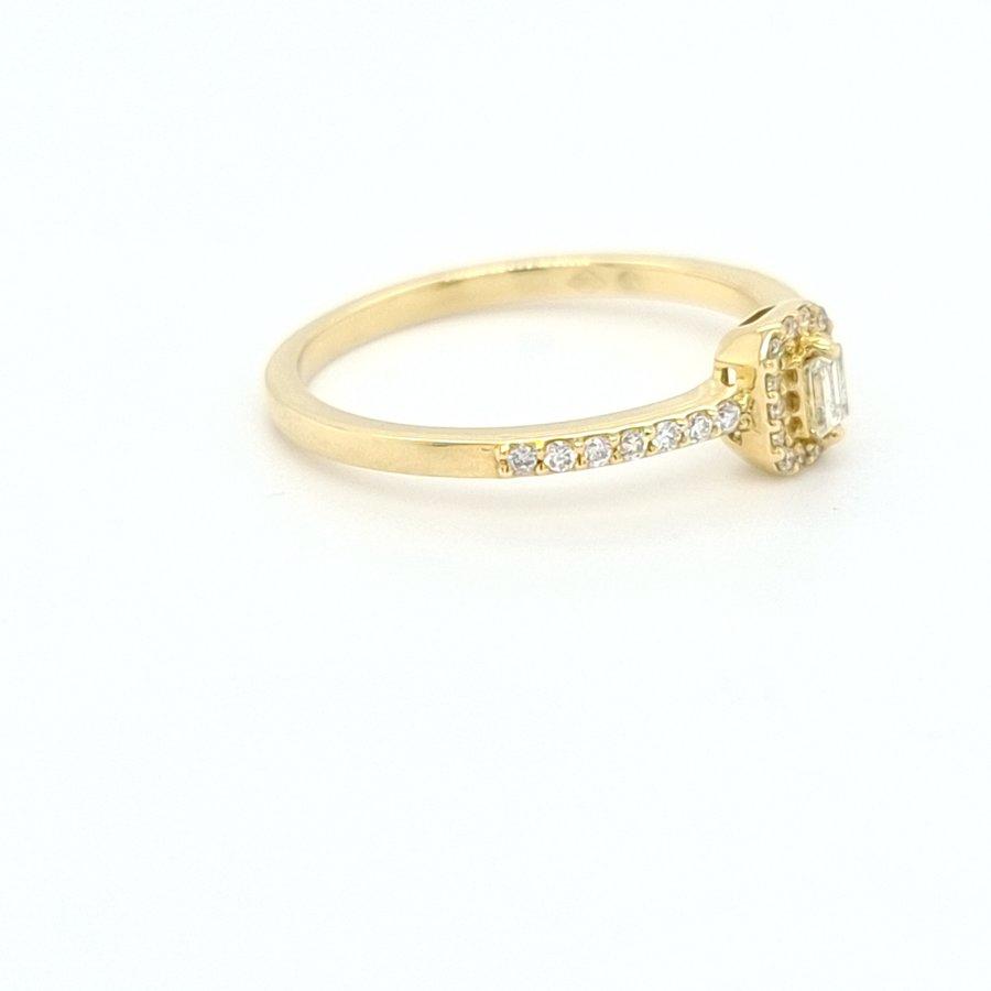18 karaat geel gouden ring briljanten/ baquette 2.3 gram