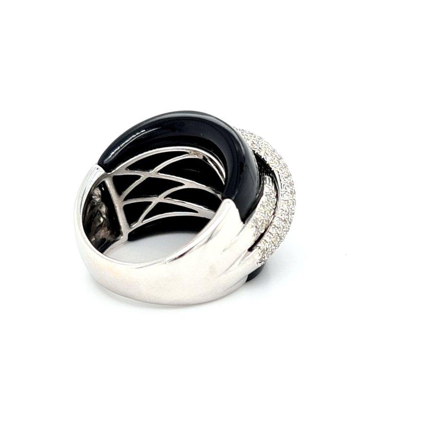 Occasion 18k  witgouden ring met Onyx en Briljanten